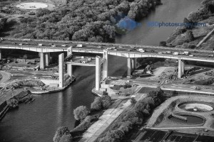 Aerial photo believed to be the last before catastrophic collapse of  Barton lift bridge under construction over Manchester Ship Canal on 16th May 2016