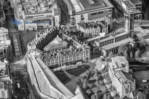 Aerial photo of Manchester Corn Exchange, Manchester Cathedral and Exchange Square Metrolink Station
