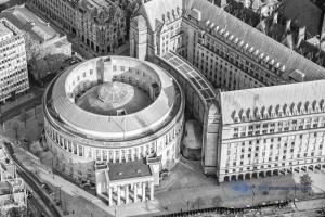 Aerial photograph of Manchester Central Library and Library Walk Link May 2016